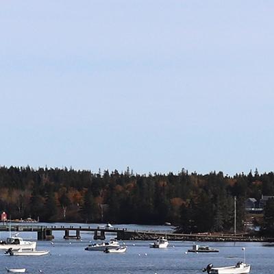 Wide shot of boats in Vinalhaven harbor