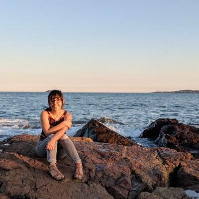 Nohemi on a rock